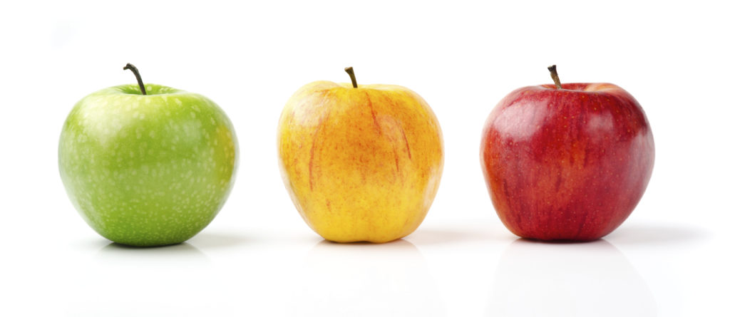Three apples depicting visual identity, brand identity, and brand image